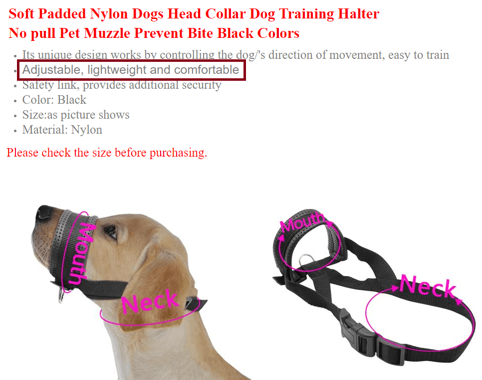 Head Collar with bad advertising